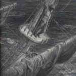 The mariner up on the mast in a storm. One of the wood-engraved illustrations by Gustave Doré of the poem.